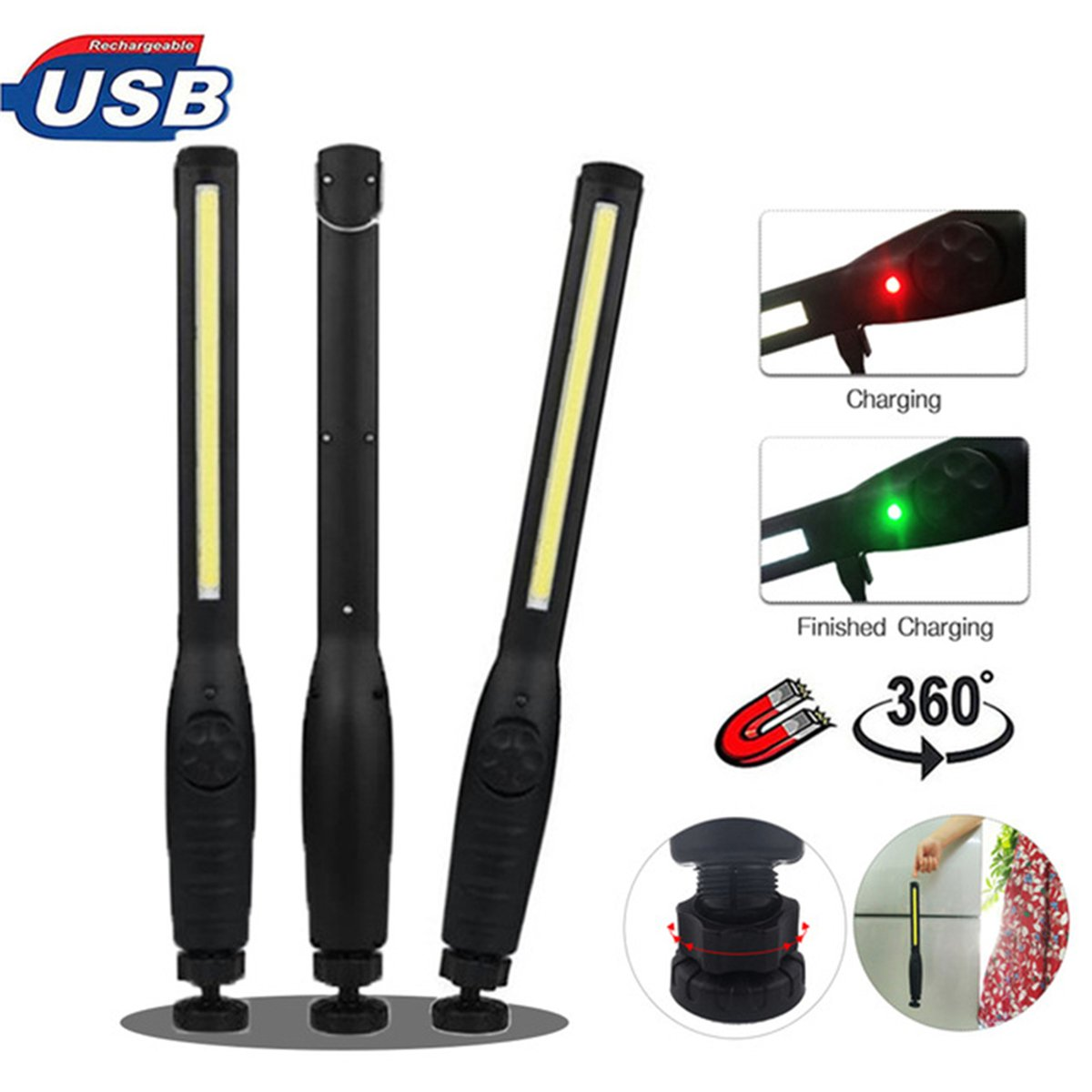 USB Rechargeable Portable COB Flashlight Torch LED Work Light Magnetic Lanterna Hook Hanging Lamp Torch for Car Repair Camping