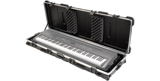 Ultimate Support ax-48 Pro Plus portátil de dos niveles columna soporte para teclado de mano con SKB ATA 88 Nota Teclado Ultra Delgado Caso, ...