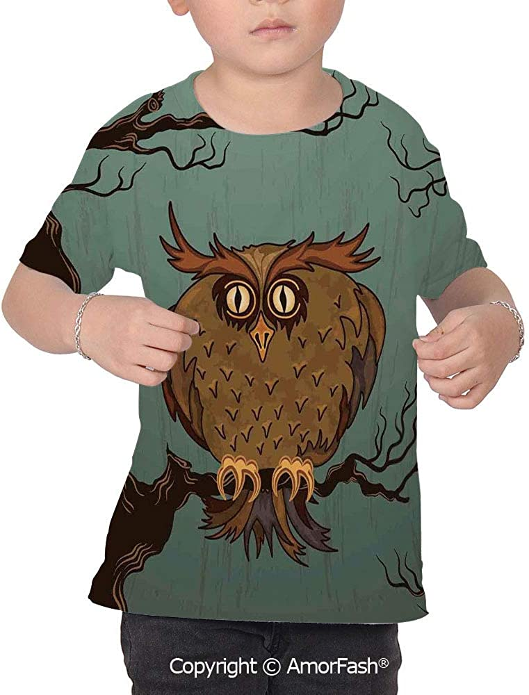 Owls Home Decor Lovely Printed T-Shirts,Crew Neck T-Shirt of Girls,Polyester,Exh