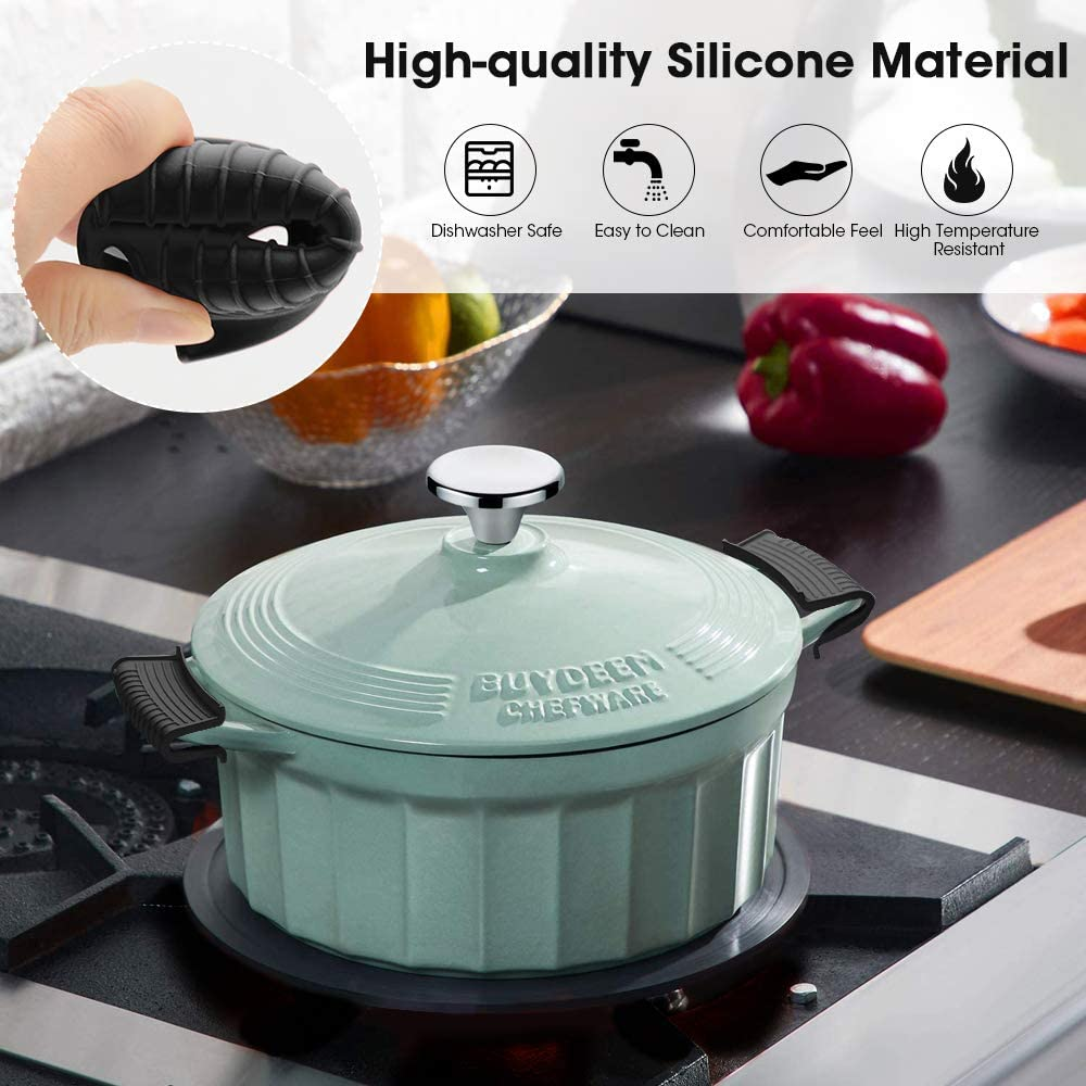 Hot Skillet Handle Covers Pot Holder Sleeve Cast Iron Skillets Non-Slip Heat Resistant for Traditional Pots Enameled Casserole Metal Frying Pans Cookware-Black Silicone Assist Hot Pan Handle Holder