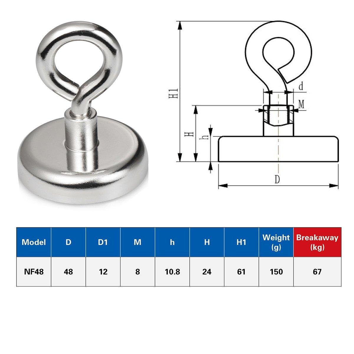 in River/ tootaci rund Super Starke Neodym-Magnet starke Fishing Magnet mit Splintbolzen f/ür Magnet Angeln und Retten /75/mm Durchmesser Vertikale Tension 180/kg mit Seil