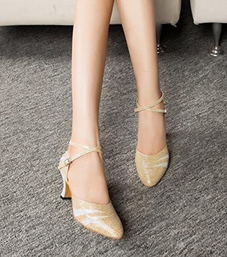 Miyoopark Scarpe Da Donna Scarpe Da Ballo Scarpe Da Ballo Con Punte Glitterate Scarpe Da Ballo Oro-7cm Tacco