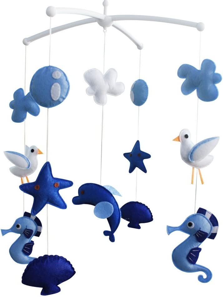 Nonwovens Crib Mobile Musical Hanging Bell Baby Toy Azul