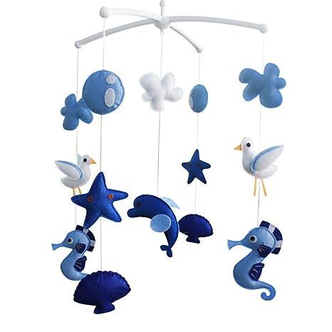Infantil musical móvil, regalo creativo, juguete hecho a mano [Aventura de los fondos marinos] Azul