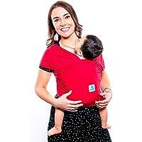 Fular elástico/Baby wrap (portabebés), rebozo para múltiples amarrados y posiciones, Rojo, 100% algodón respirable con spandex, para bebés de 0 a 15 kg