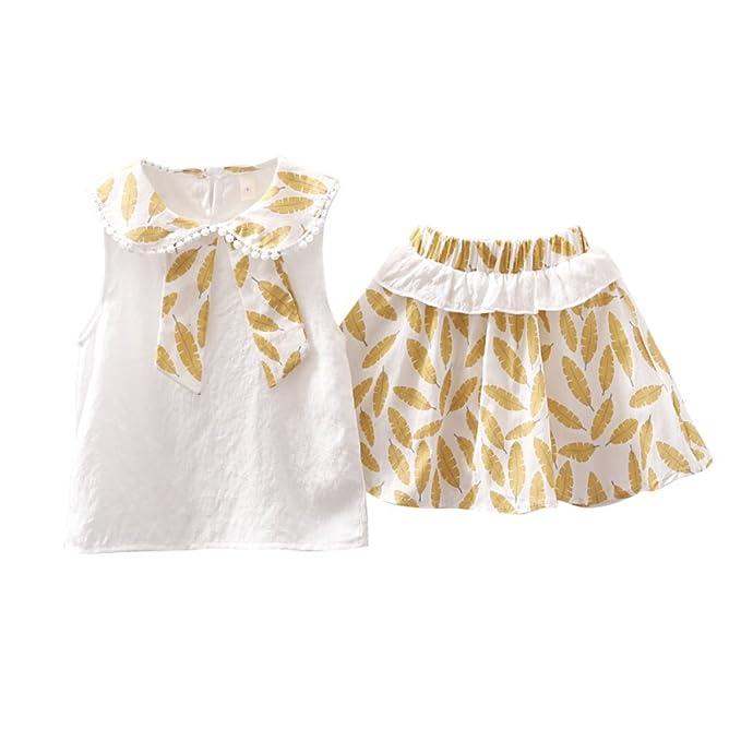 ESHOO Conjunto de faldas y blusas con cuello Peter Pan de bebé niñas: Amazon.es: Ropa y accesorios
