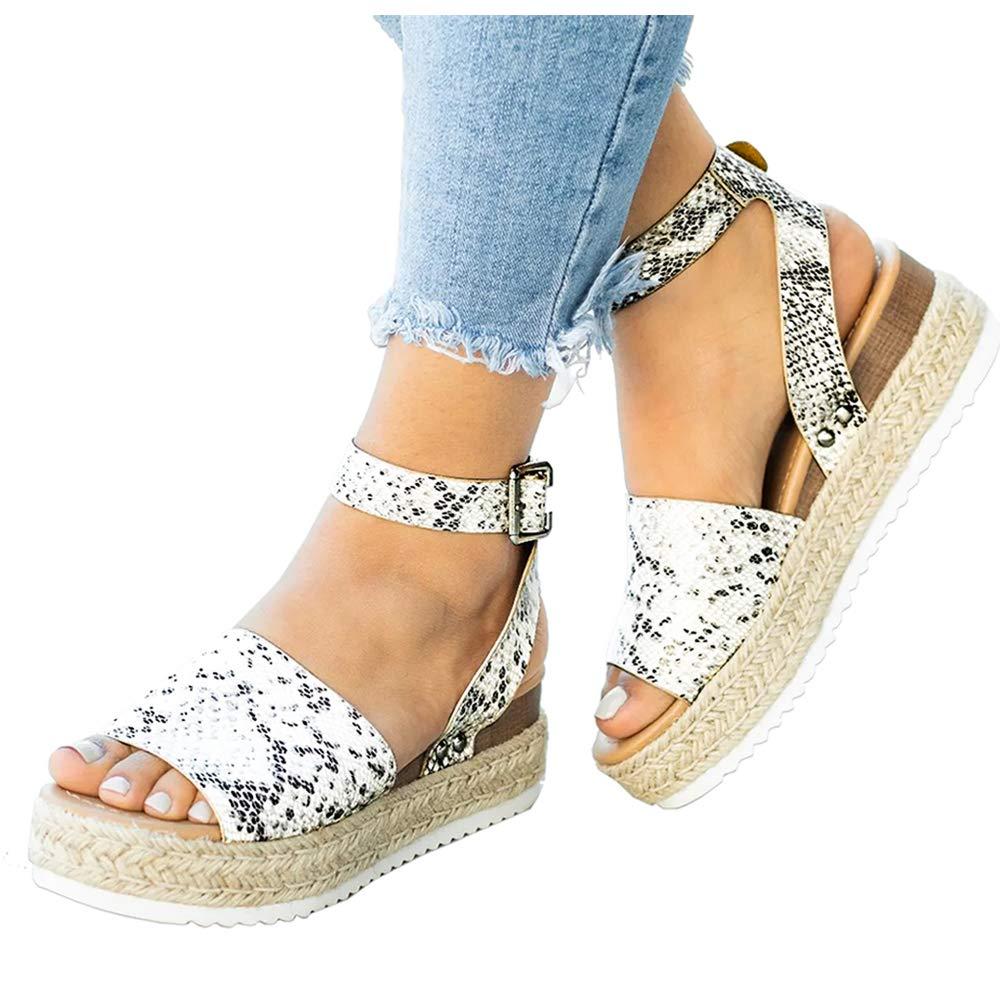 Athlefit Women's 2019 Platform Sandals Espadrille Wedge Ankle Strap Studded Summer Sandals Size 7.5 Python by Athlefit