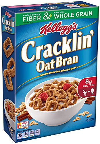 Wheat Bran Cereal - Cracklin' Oat Bran Kellogg's Breakfast Cereal, Excellent Source of Fiber, Made with Whole Grain, 17 oz Box