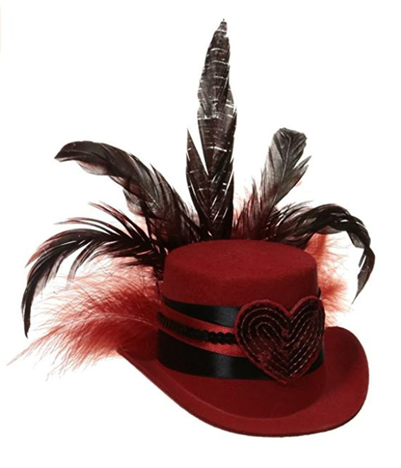 Black Feathered Red Queen of Hearts Fascinator Hat Costume Accessory - DeluxeAdultCostumes.com