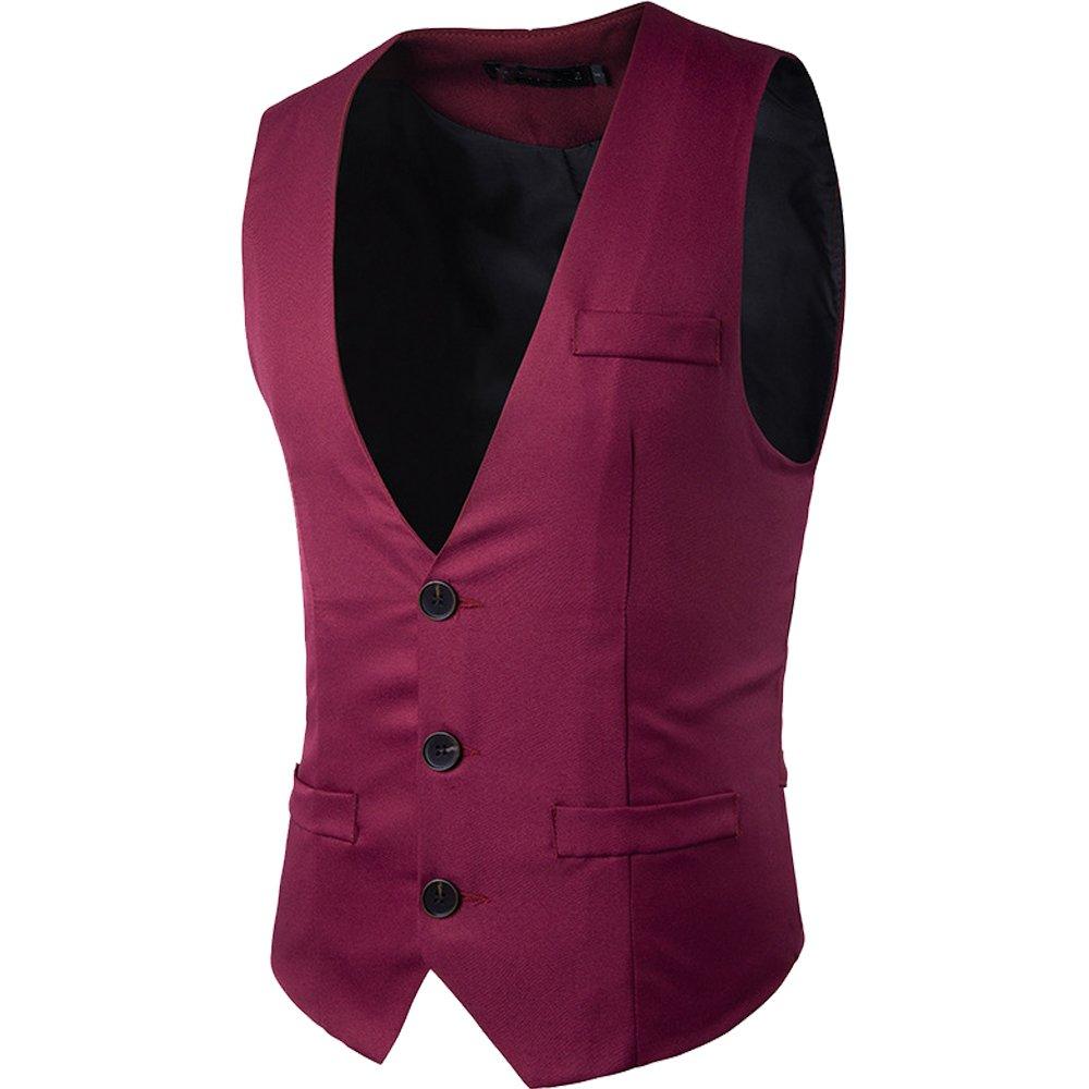 Cottory Men's Top Designed V-Neck Sleeveless Casual Slim Fit Skinny Dress Vest Waistcoat