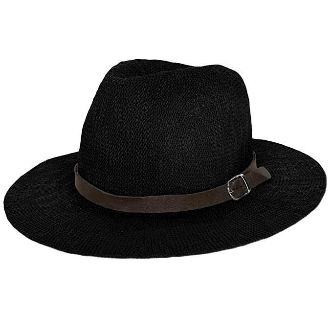 3e57c8bbd Women's Vintage Classic Derby Panama Hat Floppy Wide Brim Summer Style  Beach Hat Black