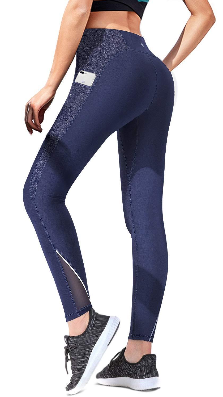 blueee 7360 X-Large Ewedoos Yoga Pants Women Leggings with Pockets High Waist Tummy Control Workout Pants for Women