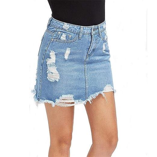YuQuanXin Jeans para Mujer Agujero Suelta Borla Atractiva de ...