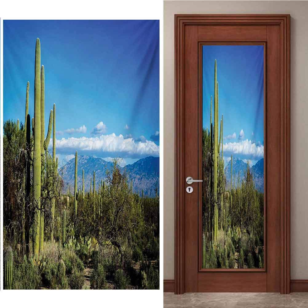 3D Door Wall Mural Wallpaper Stickers, Desert Wide View of The Tucson Countryside with Cacti, DIY Art Home Decor Poster Decoration, W23.6 x L78.7 Inch