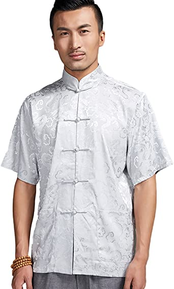 YYear Mens Short Sleeve Chinese Style Frog Button Big and Tall Slim Fit Shirt