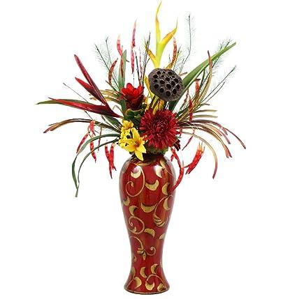 Amazon tall silk floral table centerpiece tropical design silk tall silk floral table centerpiece tropical design silk flower arrangement home interior decor mightylinksfo