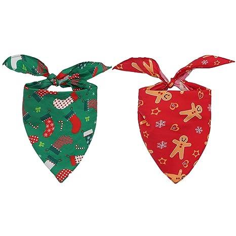 HOMIMP - 2 pañuelos de Navidad para Perro, Bufandas para Mascotas con diseño de triángulo para Cachorros y Gatos