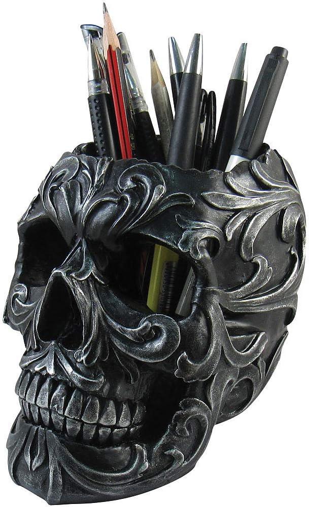 Skull Shaped Pen Pencil Holder Home Office Desk Supplies Organizer Accessory