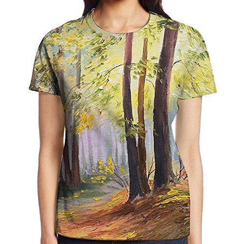 WuLion Landscape in The Forest with Falling Leaves and Various Trees Mod Print Women's 3D Print T Shirt S White