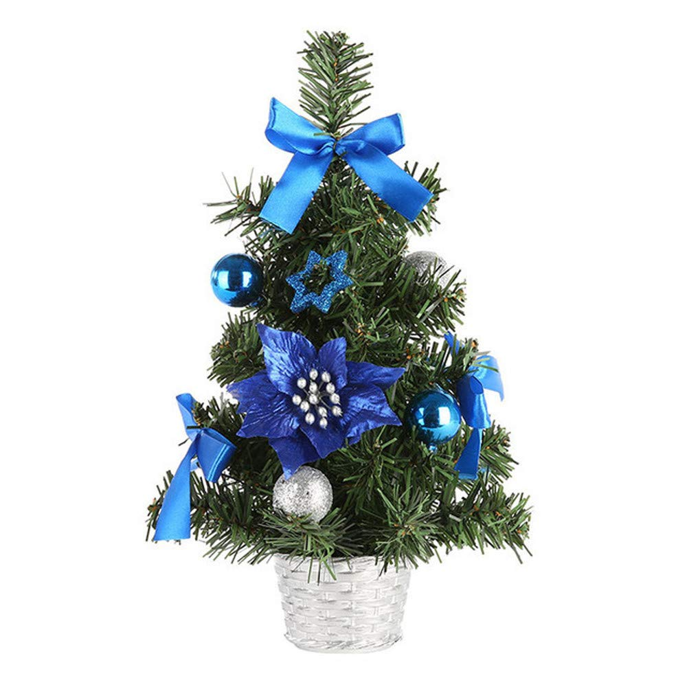 Shybuy Mini Tabletop Christmas Tree Decorated with Balls, Pinecones, and Bows in a Basket Festive Holiday Décor (Blue, 30cm)