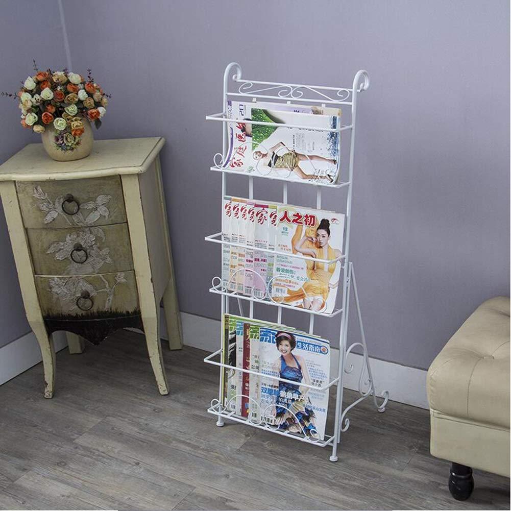 Magazine Rack-Book Rack-Material Rack-Land-Style European Wrought Iron Creative Newspaper Rack Display Shelf-Three-Dimensional Bookshelf (Size 403610cm) Yixin