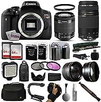 Canon EOS Rebel T6i DSLR Digital Camera + 18-55mm IS STM + 75-300mm USM Lens + 128GB Memory + LED Video Light + Backpack + Case + Filters + Auxiliary Lenses