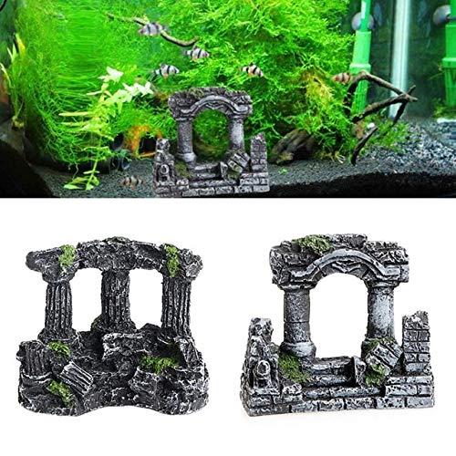 (Cocas Resin Rome Square Stone Pillars Aquarium Landscaping Fish Tank Decor Bi-Columns Tri-Columns - (Color Shows, Size: Bi Columns))