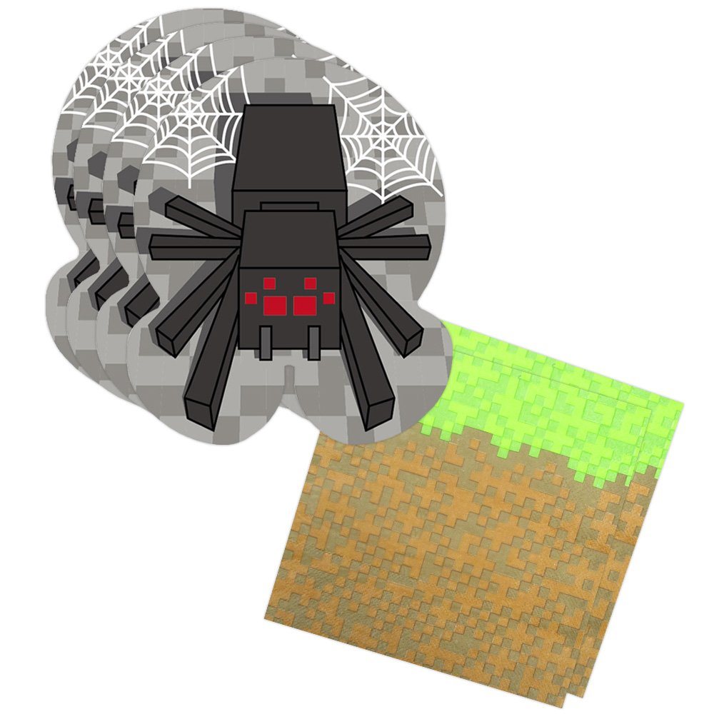 Pixel Spider Shaped Plate & Napkin Sets (70+ Pieces for 32 Guests!), Minecraft-Inspired Plate and Napkin Sets, Pixel Party Supplies, Video Game Celebrations