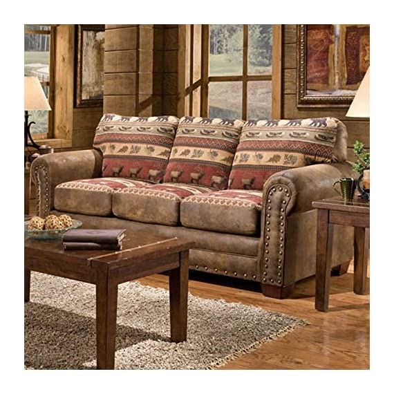 American Furniture Classics Model Sofas, Sierra Lodge Tapestry - Leather look solid color microfiber with lodge look cotton tapestry fabric Solid wood frame will last for years Comfortable foam seat and back cushions are wrapped with fiber for a comfortable seat - sofas-couches, living-room-furniture, living-room - 61YZOJafGgL. SS570  -