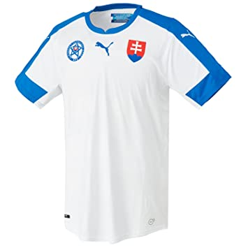 Puma Slovakia Home Replica Camiseta de fútbol para Hombre, White/Royal/Home,