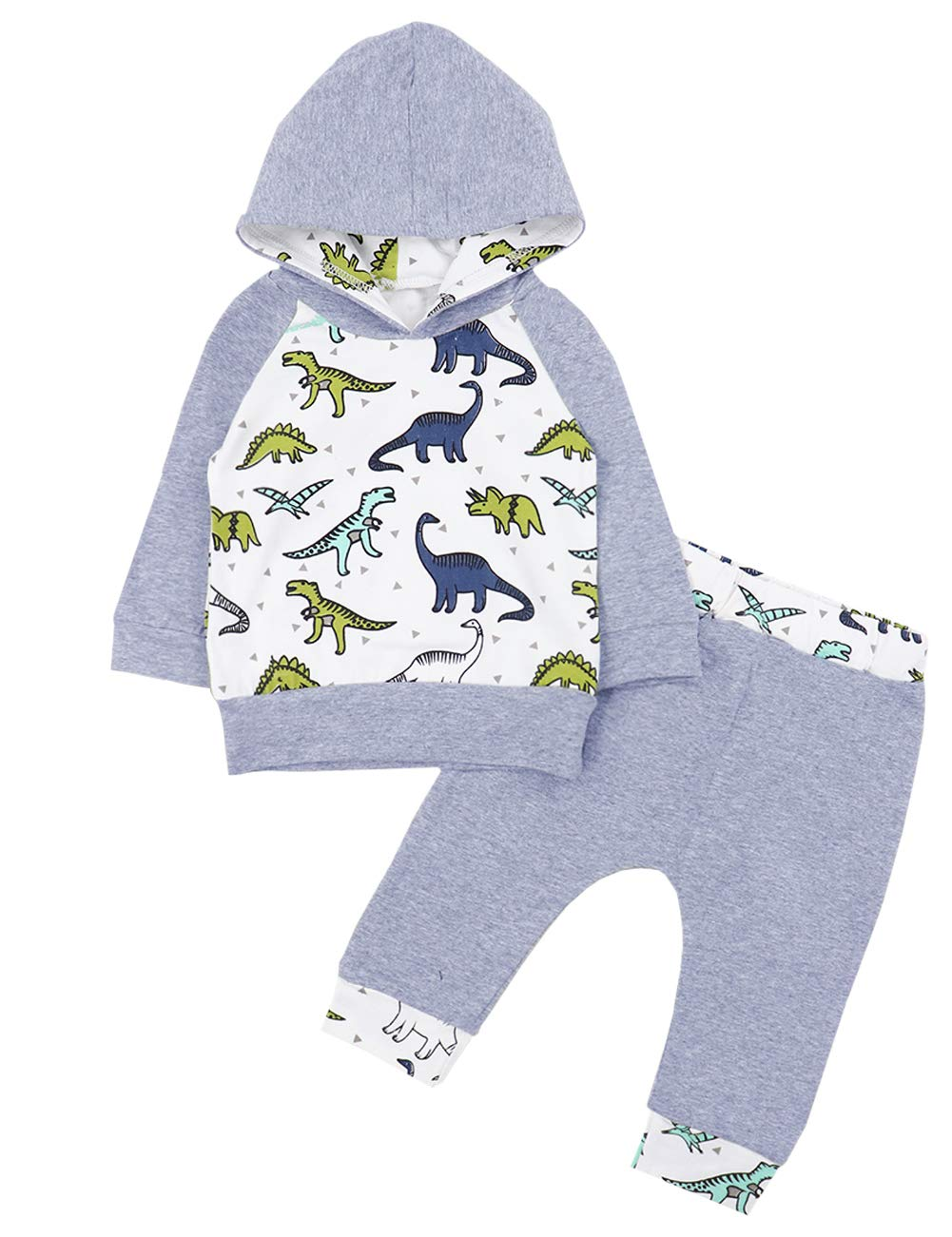Newborn Baby Boy Girl Clothes Long Sleeve Dinosaur Hoodie Tops+ Sweatsuit Pants Outfit Set(6-12 Months) Newborn Baby Boy Girl Clothes Long Sleeve Dinosaur Hoodie Tops+ Cute Pants 2PCS Outfit Set