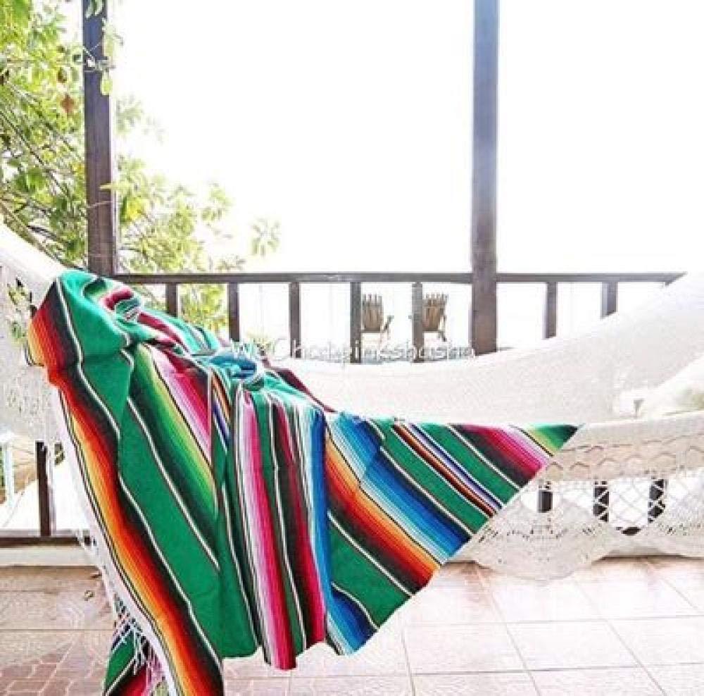 YYXDSG Vent Ethnique Couverture de Plage Coton Indien Mexicain Main Arc en Ciel Couverture Maison Tapisserie Tapis de Plage Pique-Nique Tapis Vert 150 180 cm
