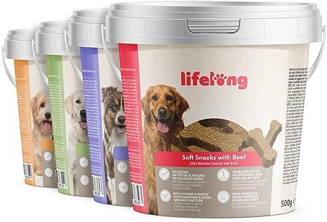 Marca Amazon - Lifelong - Treats para perros, ricos en proteínas, con pavo, vacuno, pato y cordero (4 botes x 500gr)