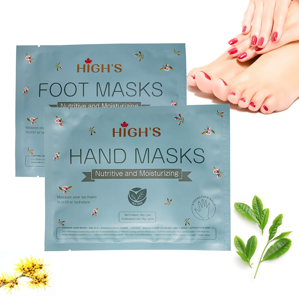 HIGH'S 2 pack Hand Foot Mask Nutritive Home Spa Moisturizing Gloves and Moisturizing Socks Set for Women Men