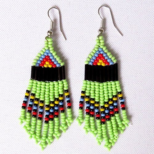 African Zulu beaded earrings - Chandelier NEW DESIGN - Green and multicolour - Gift for (New Fair Trade Handmade Art)