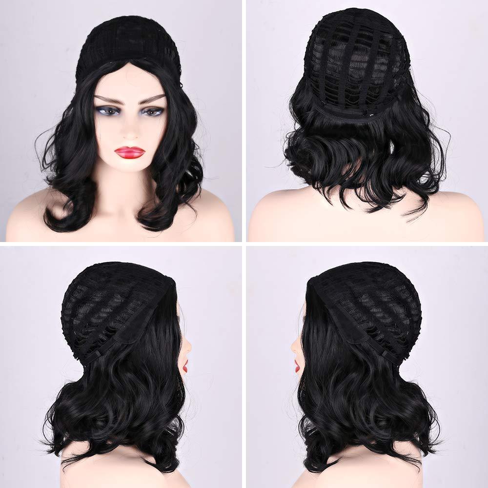 Short Wavy Wigs Wavy Black Ombre Synthetic Wig