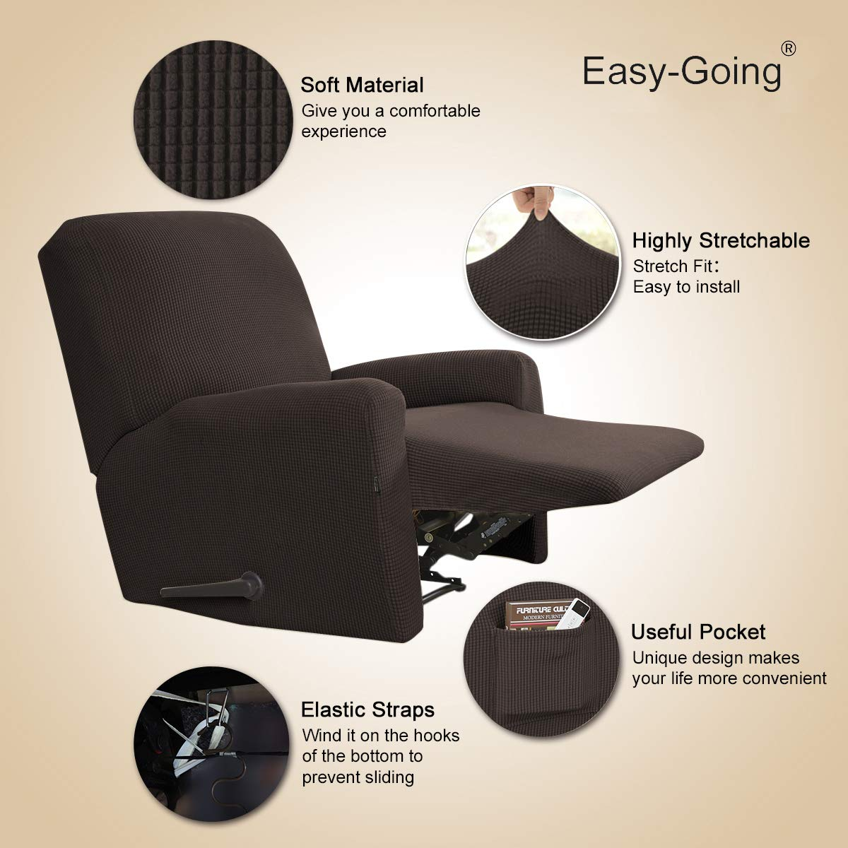 EasyGoing Recliner Stretch Sofa Slipcover Sofa Cover 4Pieces Furniture Protector Couch Soft with