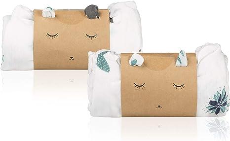 Pack 2 Mantas Muselina en Bambú y Algodón Orgánico para Bebé | Set Gasas Swaddle Wrap Unisex | Sábanas Recién Nacido Multiusos | Paños Ultra Suaves y Transpirables | Mantitas Algodón Grandes 120X120cm: Amazon.es: Bebé