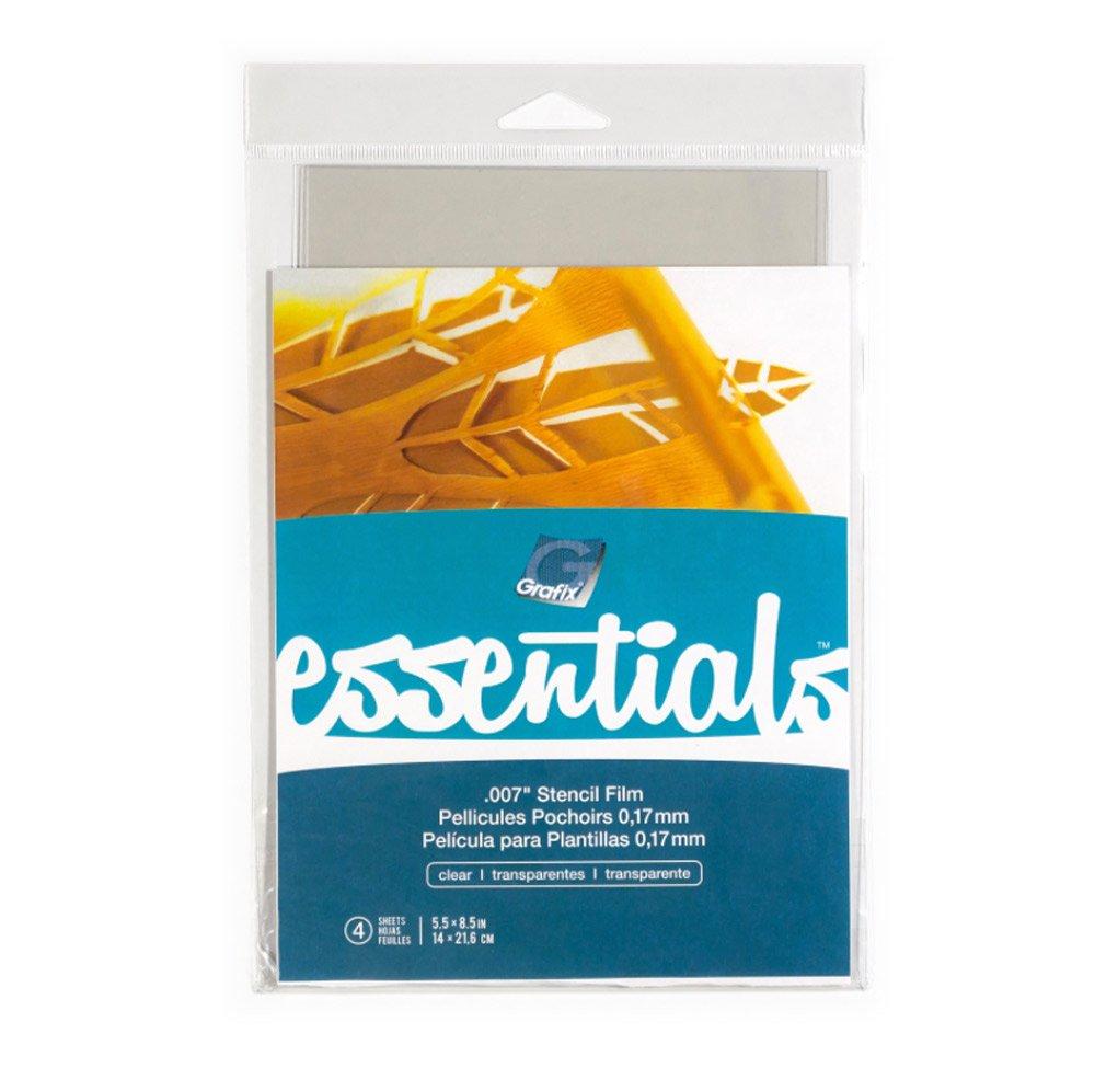 Grafix Essentials Stencil Film 2.5X8.5 4/Pkg-Clear .007 KE7SFC58-4