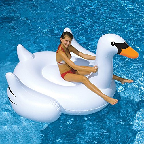Giant Swan 60 Inch 1.5m Inflatable Ride-on Pool Toy Float Swan Inflatable Swim Ring (Link Ball Tail)