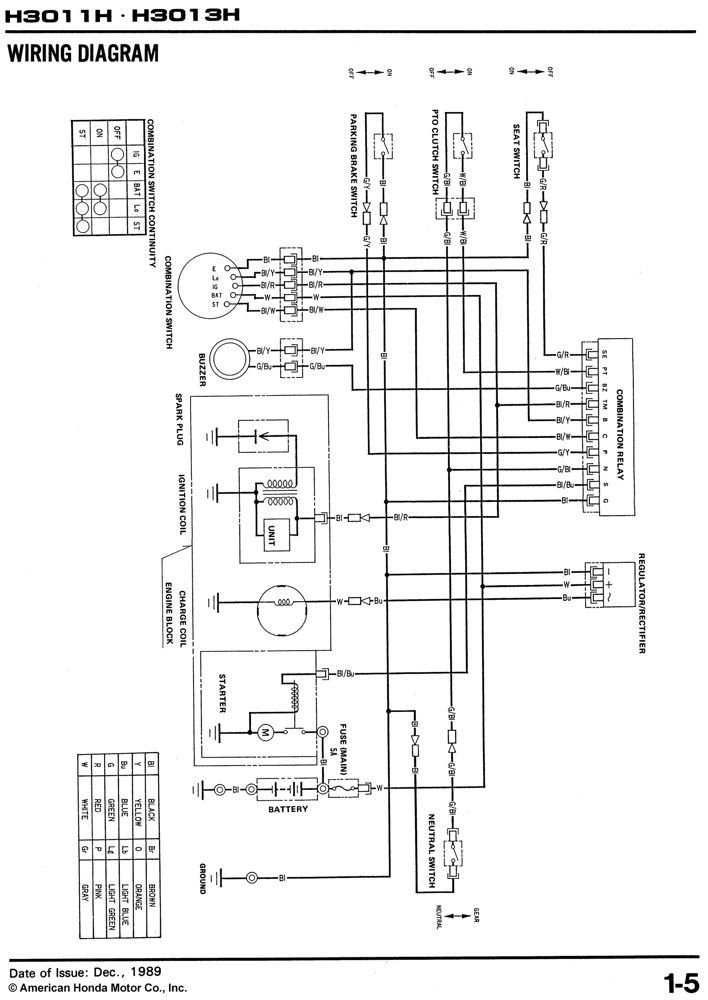 amazon com honda h3011 h3013 h model riding mower service repair  at Wiring Diagram For Combination Relay 38450 763 A02