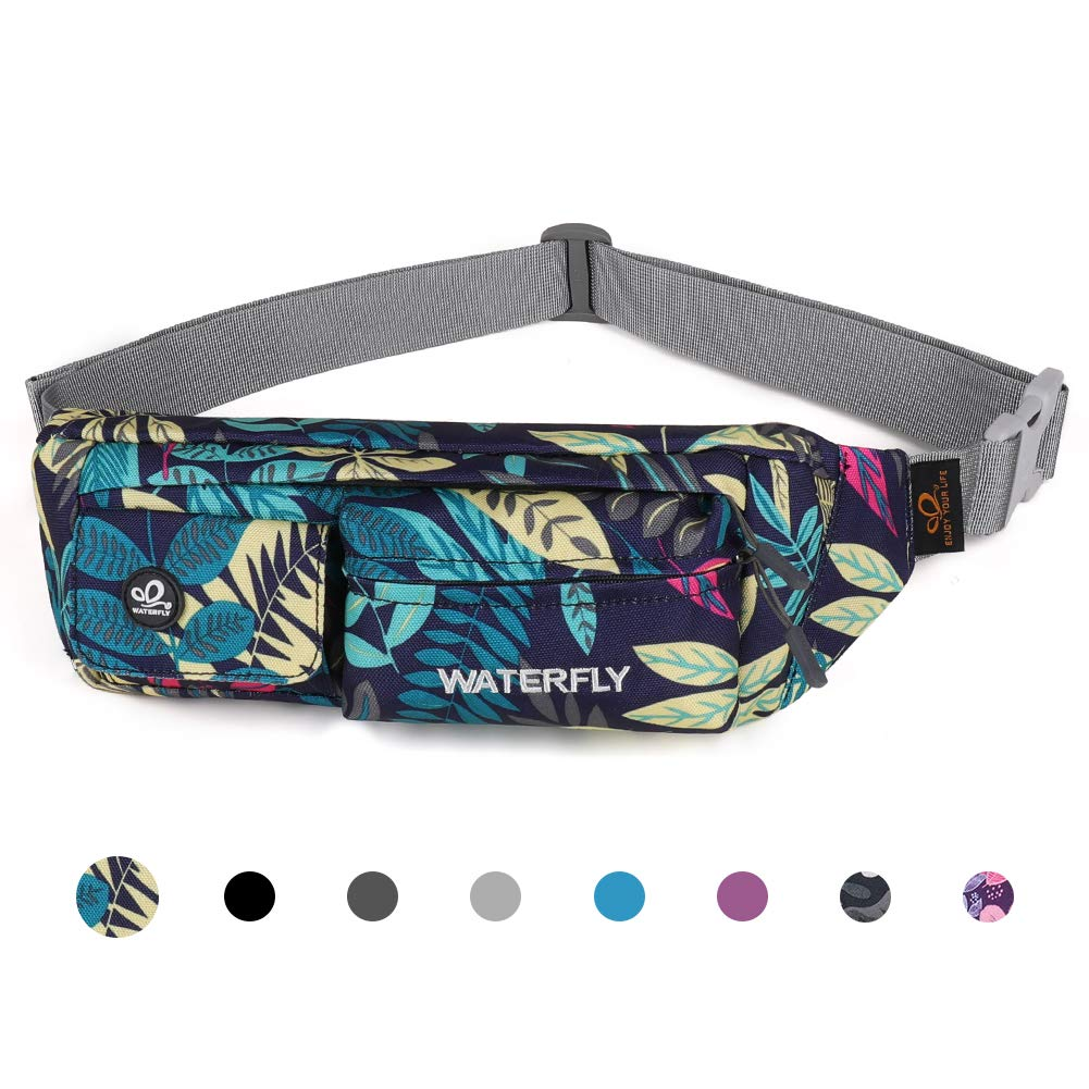 Waterfly Fanny Pack Slim Soft Polyester Water Resistant Waist Bag for Man Women Carrying iPhone Xs / 8 Plus Samsung S10 Plus/Note 8 (Blue Leaf) by Waterfly