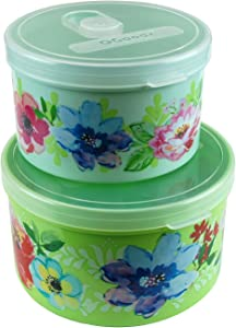 QG 40 & 24oz Round Plastic Food Storage Containers with Lids BPA Free - 2 Pieces Light Green & Yellow Green with Pattern