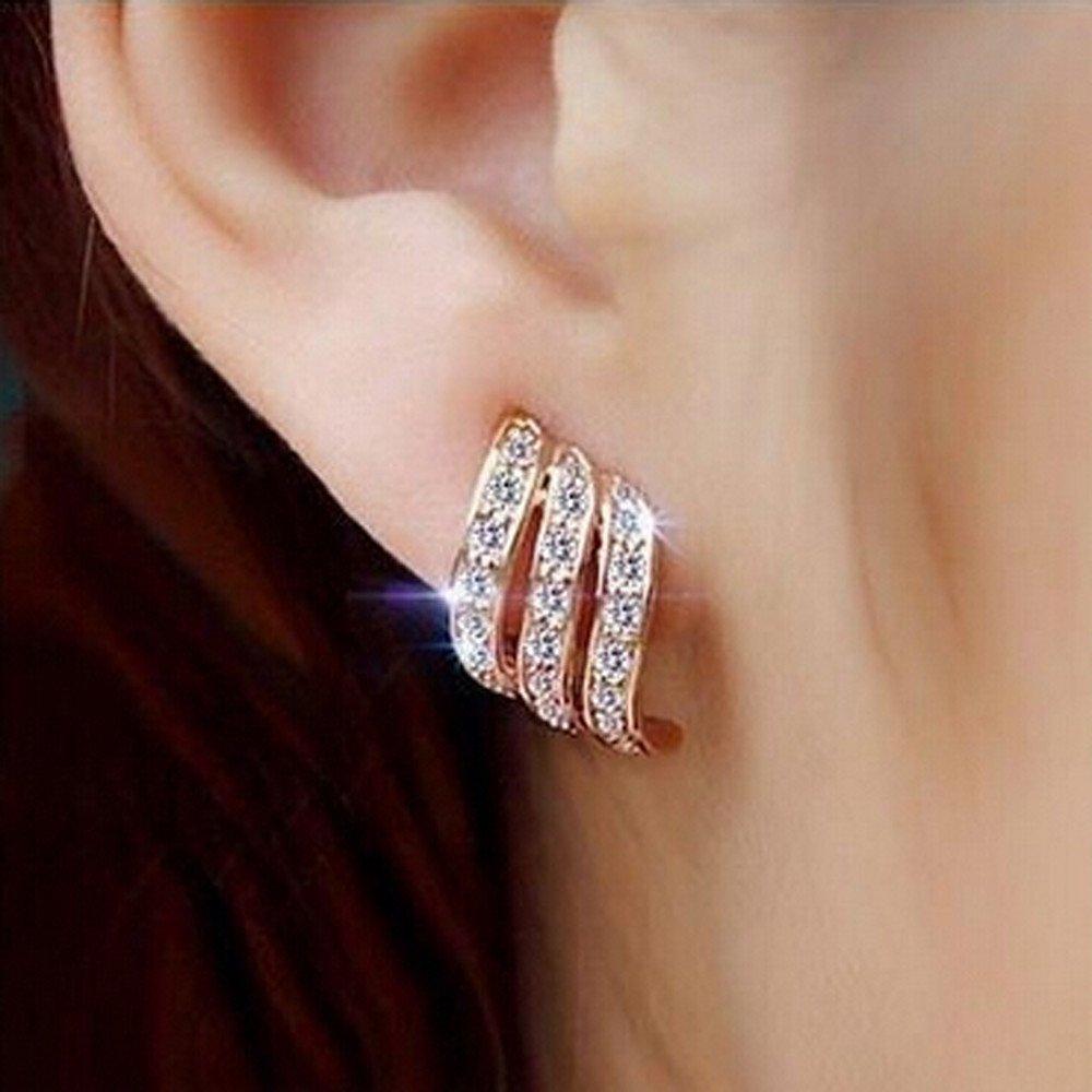 Rose Gold Nivalkid Rose Gold Diamond-studded Personality Stud Earrings for Women Wedding Jewellery Earrings Three Rows of Female Earrings Girls Jewelry Fashion Jewelry Crystal Stud Earrings