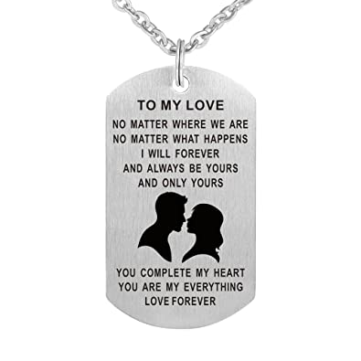 703631cc9885 CraDiabh Valentine s Day Dog Tag Pendant Necklace Gift for Boyfriend  Girlfriend Husband Wife Valentine Lover Love Gift Military Jewelry  Personalized ...