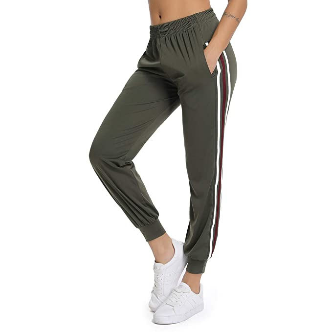 f24d2f51e7bd FITTOO Women Casual Two Stripe Sweatpants Tapered Leg Jogger Athletic  Training Sweat Track Pants  Amazon.co.uk  Clothing