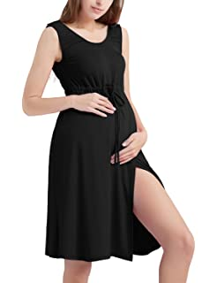 d4d6a74132311 Bhome 3 in 1 Maternity Labor Delivery Gown Hospital Nightgown Nursing  Breastfeeding Tank Dress