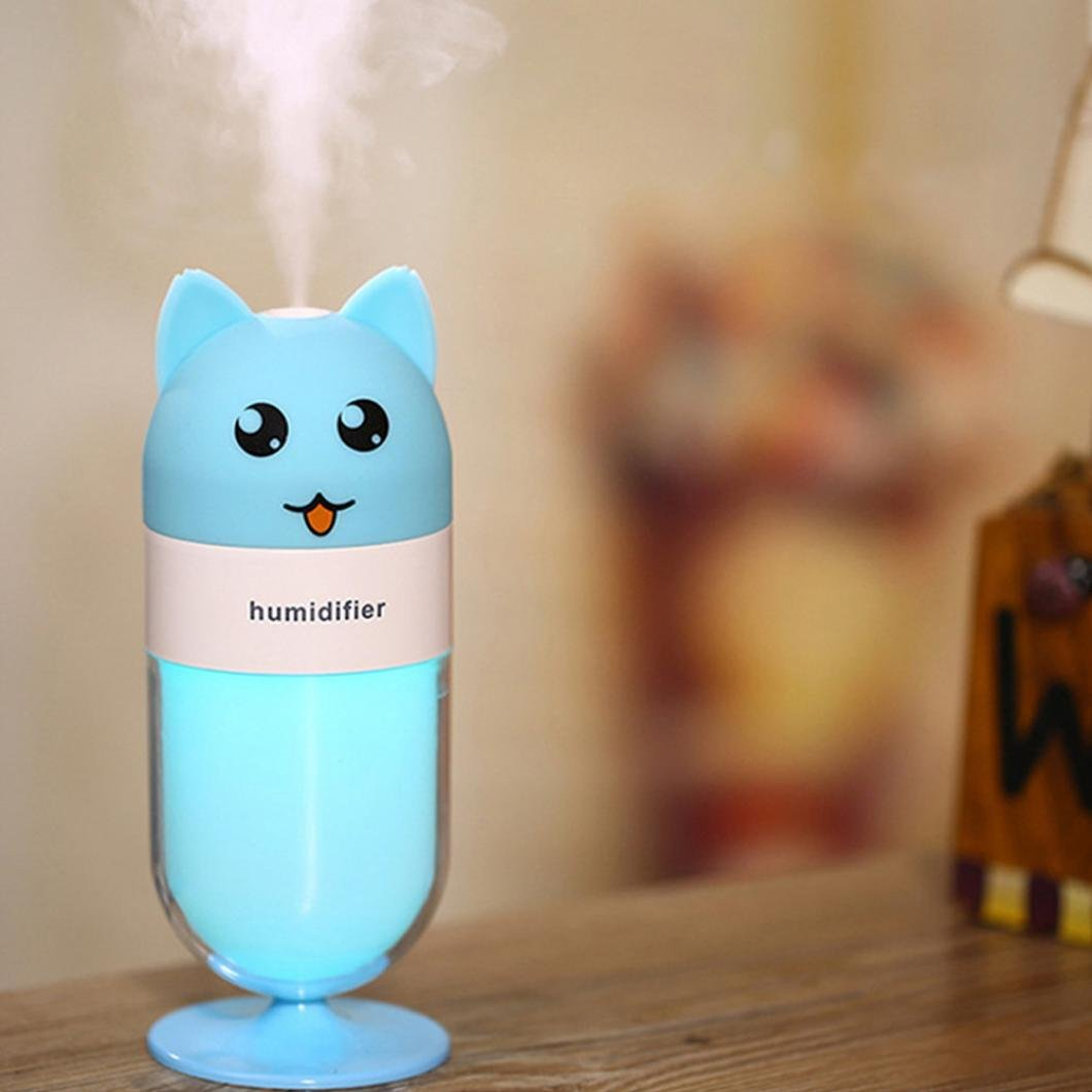 Miklan Cute Fox Humdifier Of LED Purifier Air Defuser For Rooom&Office Poratable (blue)