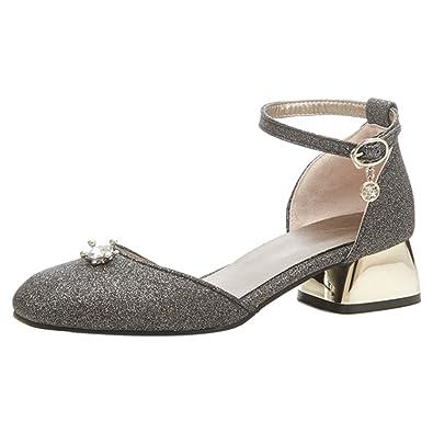 RAZAMAZA Damen Fashion Hochzeitsschuhe Stiletto Sandalen Ankle Strap Black Size 33 Asian gco0fBdrf