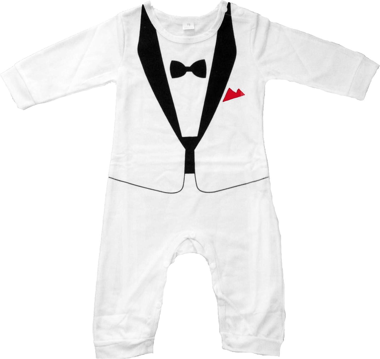 Taille 70-80 90 Smoking avec Papillon Grenouill/ère Smoking pour Petits gar/çons Blanche et Noire Un Adorable Cadeau pour Les Parents Qui Ont des b/éb/és